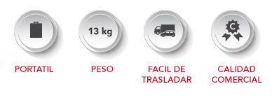ICONOS-MINI-SIMPLE Portátil, 13 kg de peso, fácil de trasladar, calidad comercial