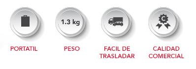 ICONOS-MOCHILA-DISPLAY Portátil, 1.3 kg de peso, fácil de trasladar, calidad comercial